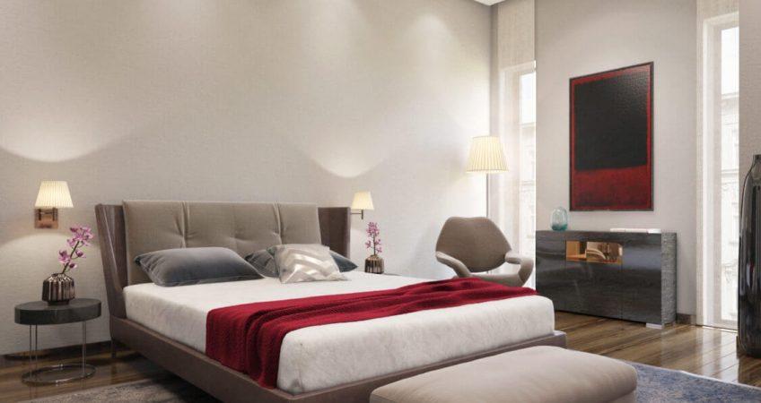visualisation 3D d'une chambre parentale rénovée